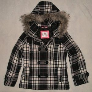Justice Plaid Hooded Pea Coat Jacket Girls Size 10